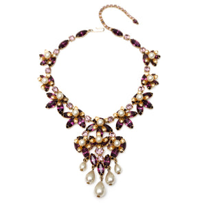1950s Austrian Purple Floral Necklace