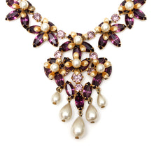 Load image into Gallery viewer, 1950s Austrian Purple Floral Necklace