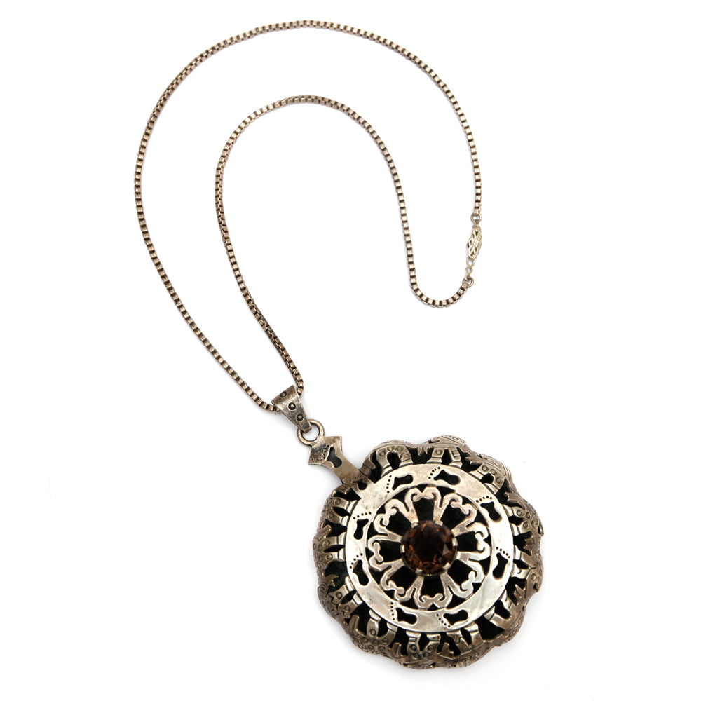 JS Mexican Silver Pendant Necklace with Smoke Stone
