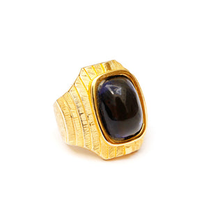 Gold-Toned Ring with Dark Blue Cabochon