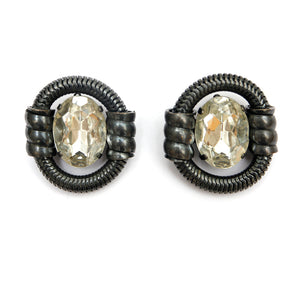 Dark Metal Earrings with Large Brilliant Stone