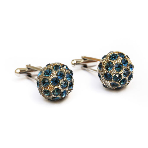 Silver Spherical Cufflinks with Blue Stones