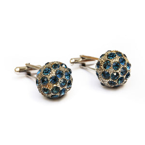 1970s Silver Spherical Cufflinks with Blue Stones