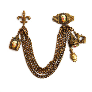 Karu Gold Toned Chatelaine Brooch