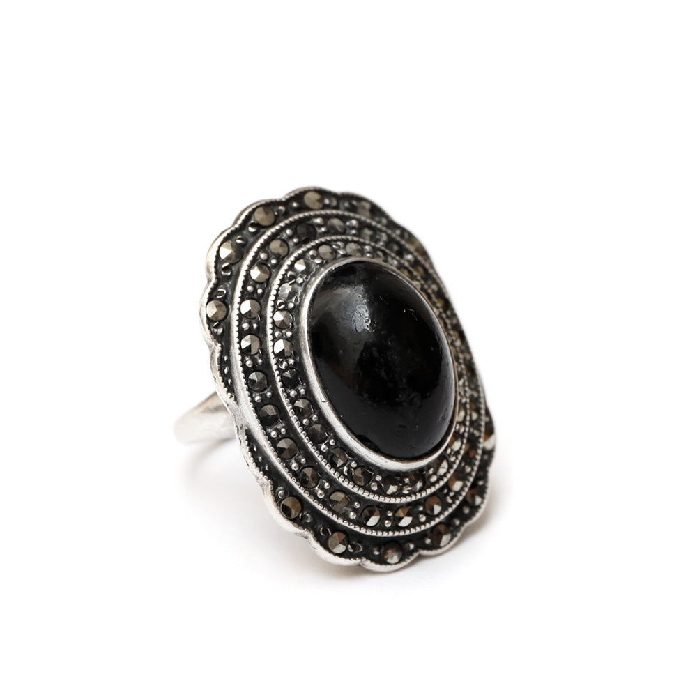 Marcasite Ring with Black Cabochon
