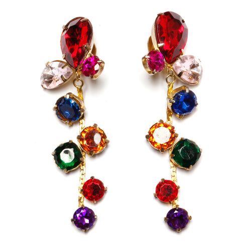 Multi Colour Chain Drop Earring