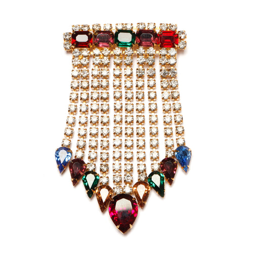 Diamante Bar Brooch with Fringe