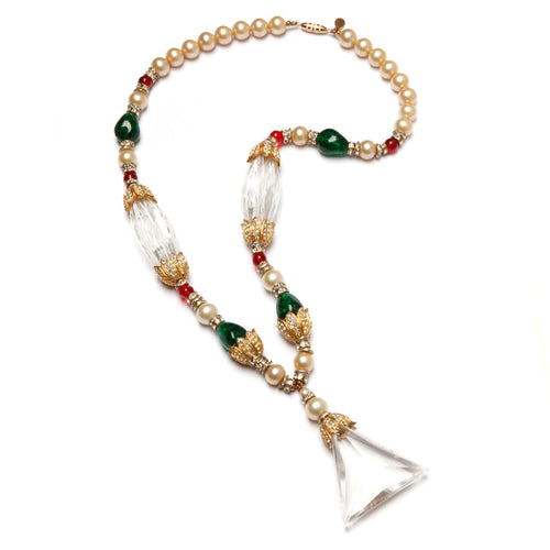 Van  Rouge Pearl and Lucite Necklace