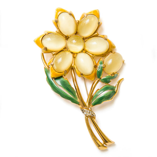 Yellow Enamel Flower Brooch