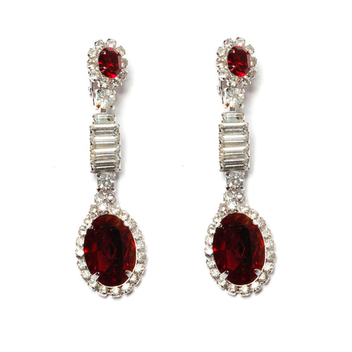 Kramer Ruby and Diamanté Drop Earrings