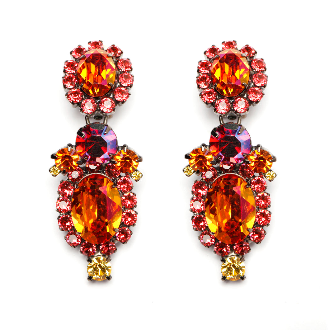 Thorin Flaming Orange Crsytal Earrings