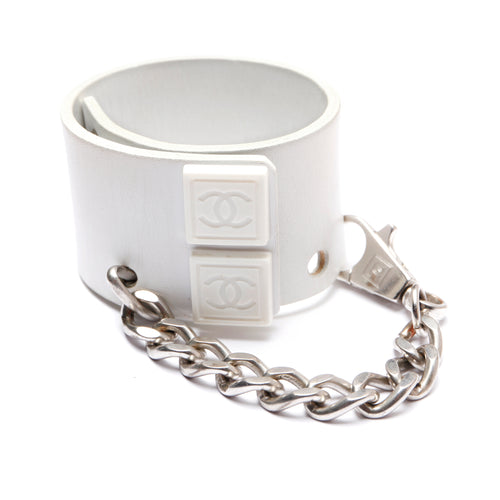 Chanel White Leather Cuff