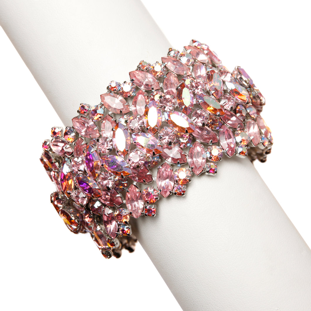 1950s Sherman Pink Crystal Cuff