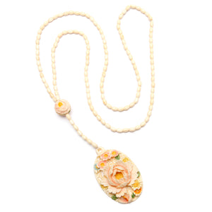 Carved Better Than Bone Floral Necklace