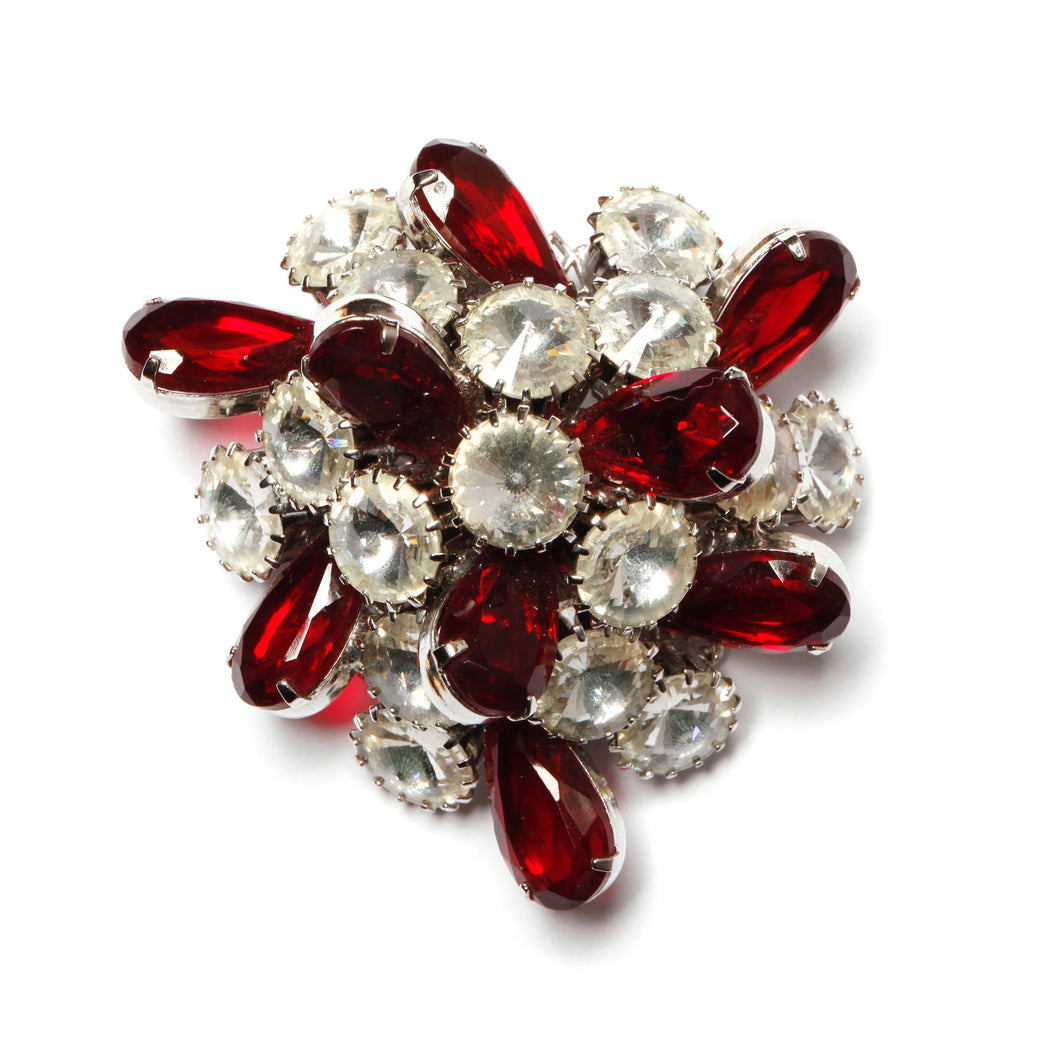Ruby and Diamante Atomic Brooch