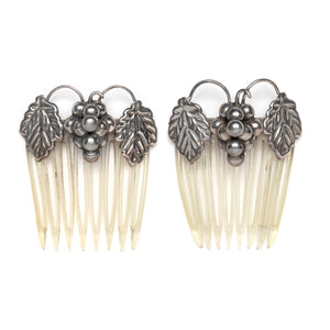 1950s Sterling Figural Grape Hair Comb Set