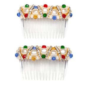 1970s Pearl and Rhinestones Hair Comb Set