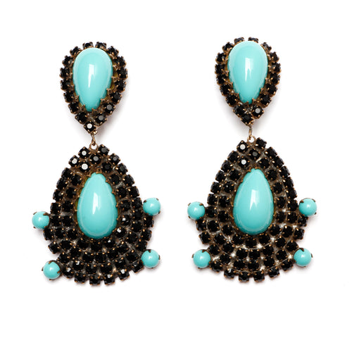 KJL Black Crystal Earrings