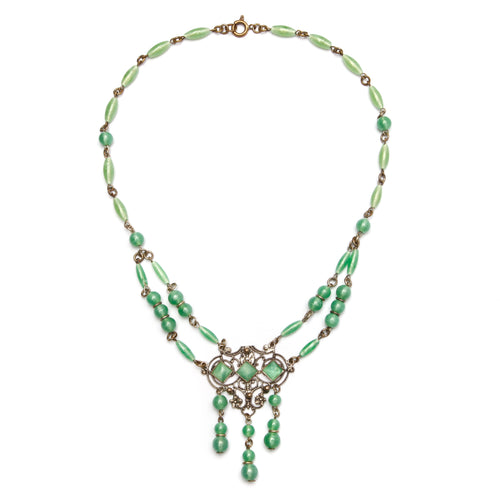 Czech Jade Glass Necklace