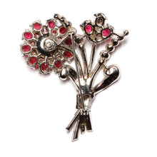 Load image into Gallery viewer, Coro Red and Silver Flower Bouquet Brooch