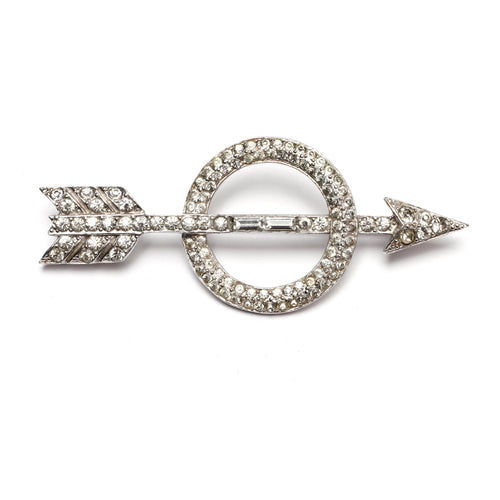 Trifari Diamante Arrow Brooch