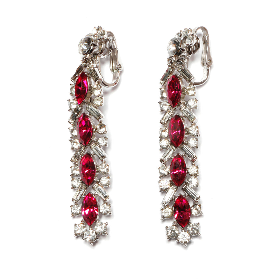 Trifari Pink and  Diamanté Drop Earrings