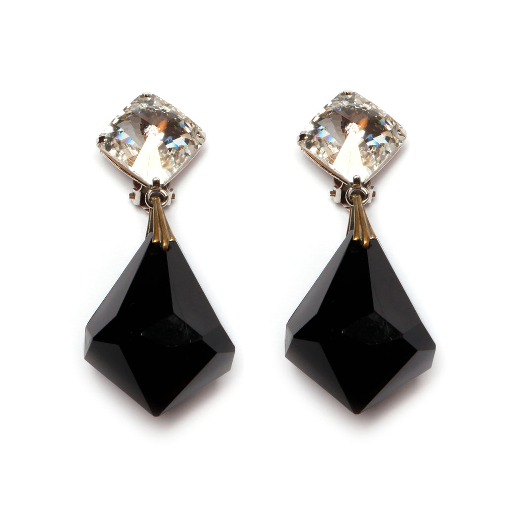 Black Prismatic Dangly Earrings