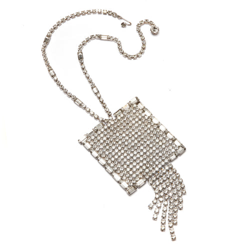 Diamanté Square Pendant Necklace
