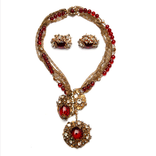 Miriam Haskell Red Necklace and Earrings