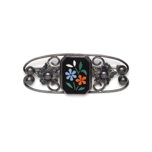 1940s Sterling Brooch with Mosaic