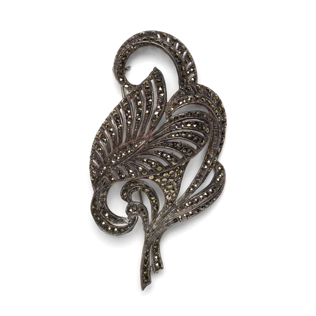 1940s Sterling Marcasite Leaf Brooch