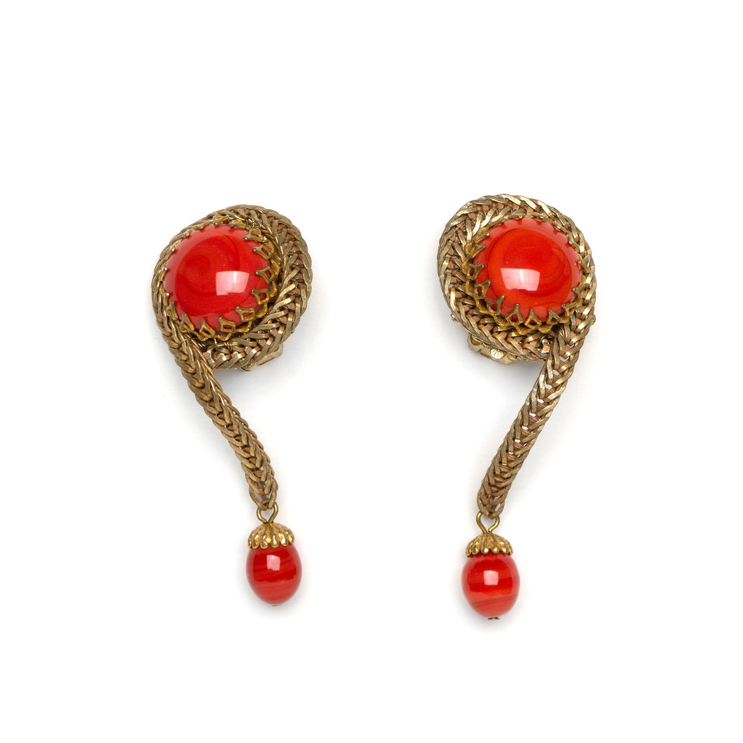 1950s Miriam Haskell Red Dangly Earrings