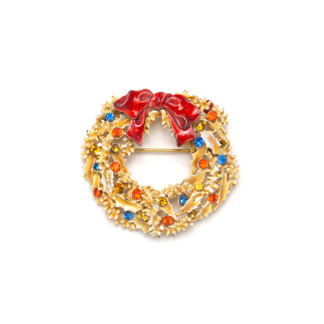 1950s ART Festive Wreath Pin