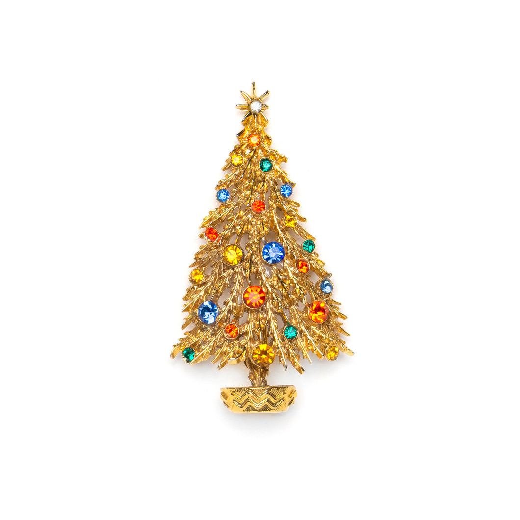 1950s ART Festive Gold Christmas Tree Pin
