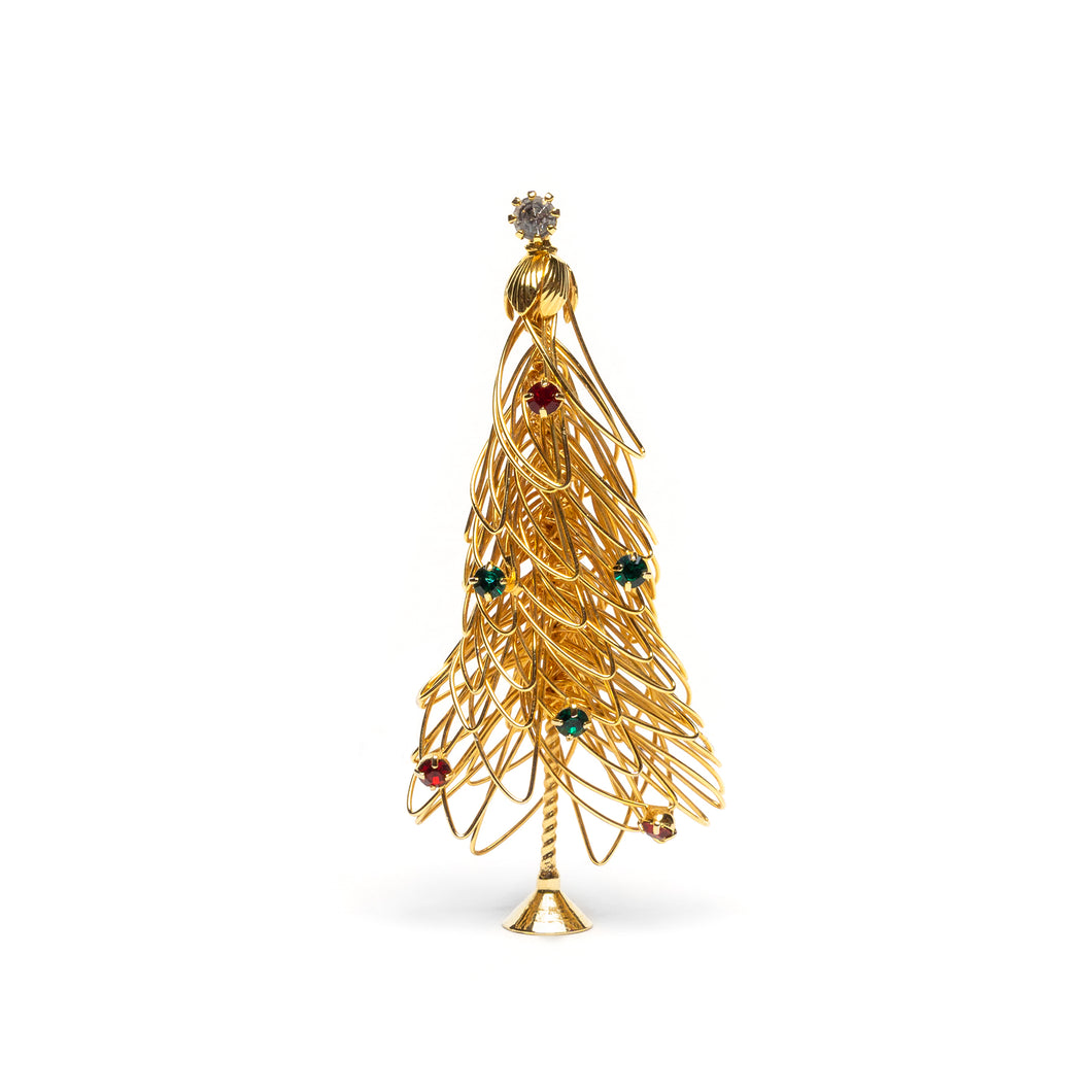1950s Festive Gold Wire Christmas Tree Pin