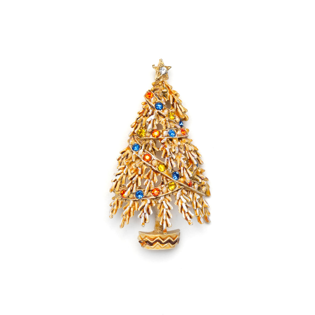 1950s ART Festive White Christmas Tree Pin