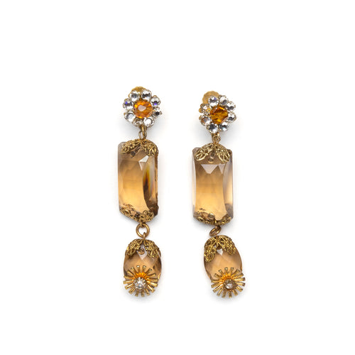 1950s Miriam Haskell Citrine Dangly Earrings