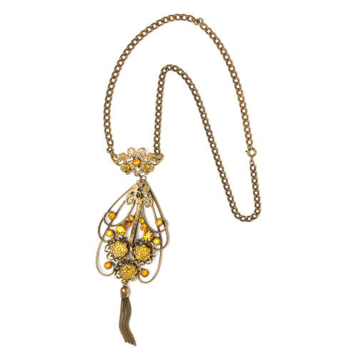 1930s Filigree Pendant and Tassel Necklace