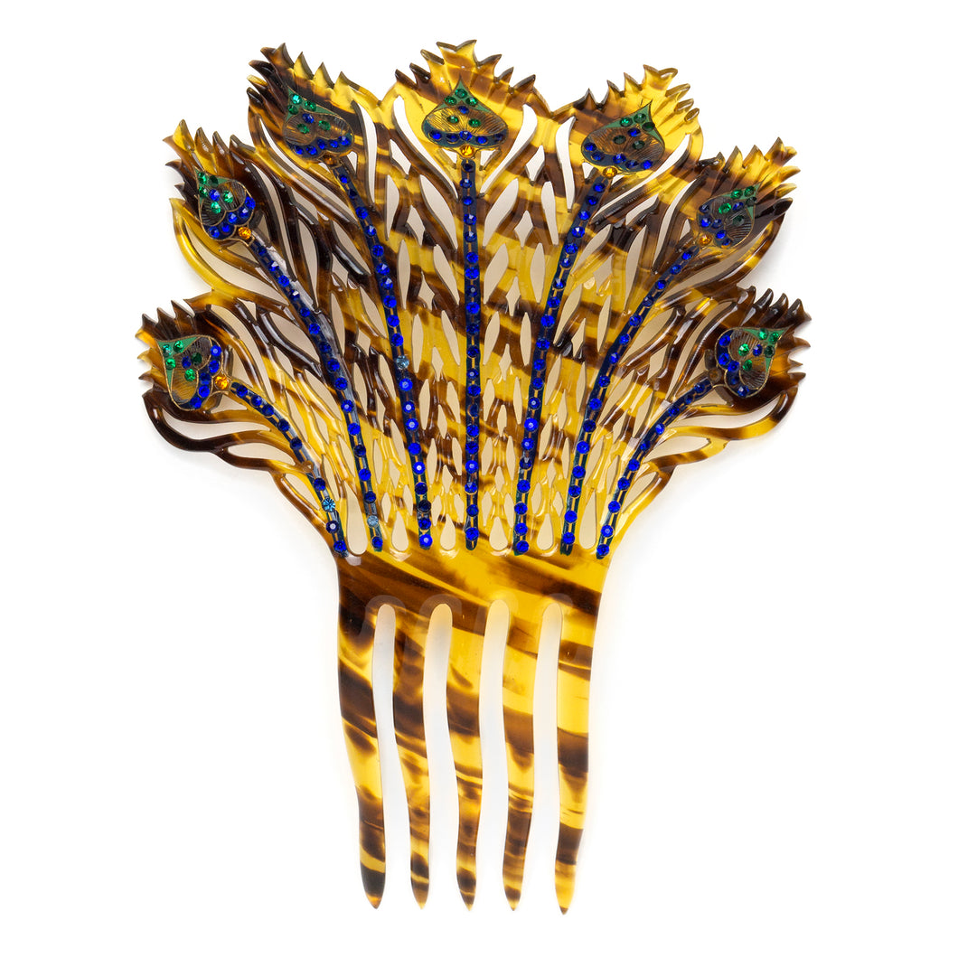 Tortoise-Shell Hair Comb with Blue/Green Rhinestones