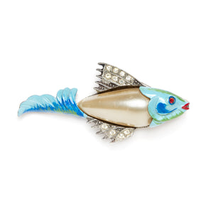 1940s Blue and Pearl Fish Brooch
