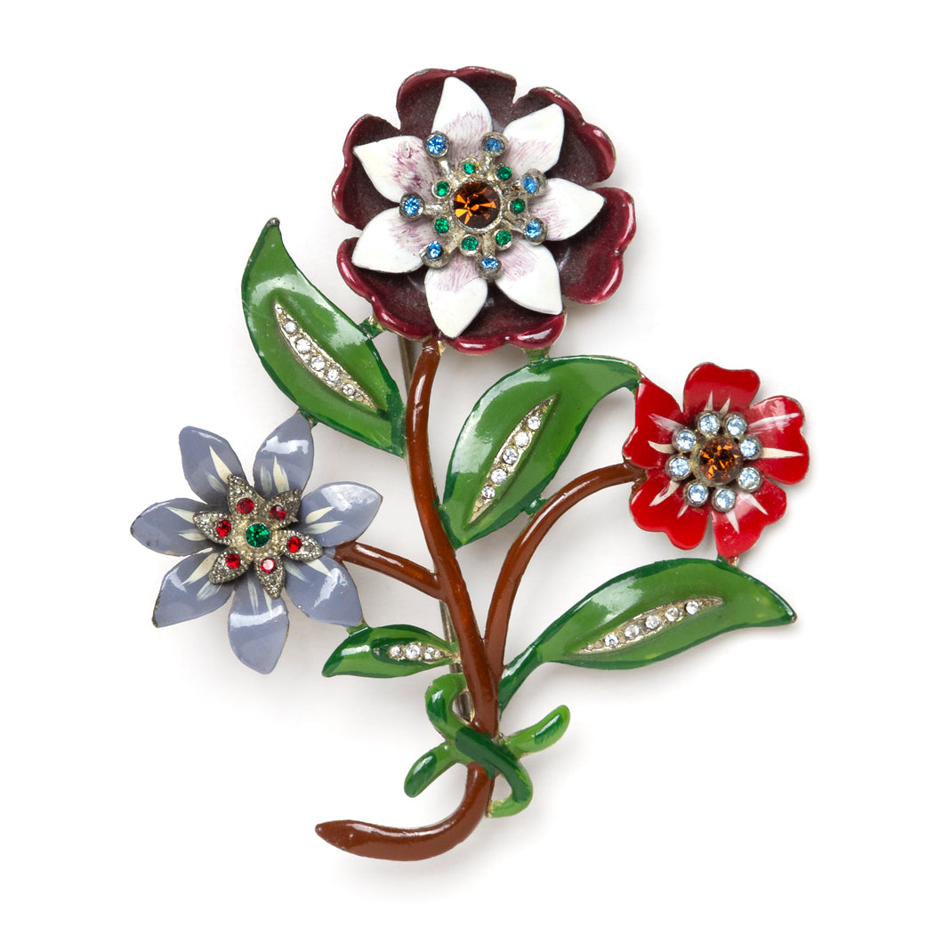Colourful Flowers Brooch