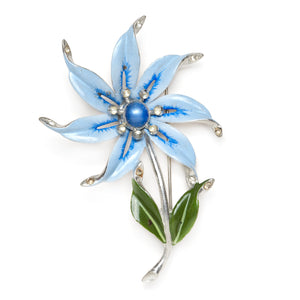 Coro Blue Flower Brooch