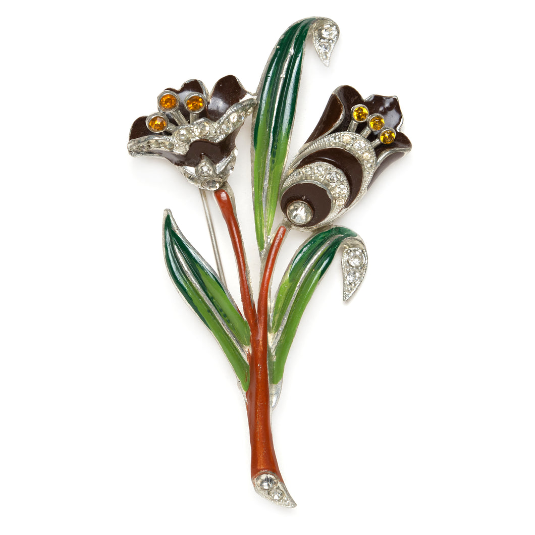 Brown Tulips Brooch