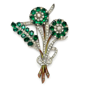1930s Green and Diamanté Figural Floral Brooch