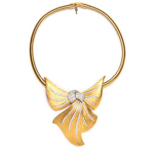 1950s Trifari Gold and Diamanté Bow Choker