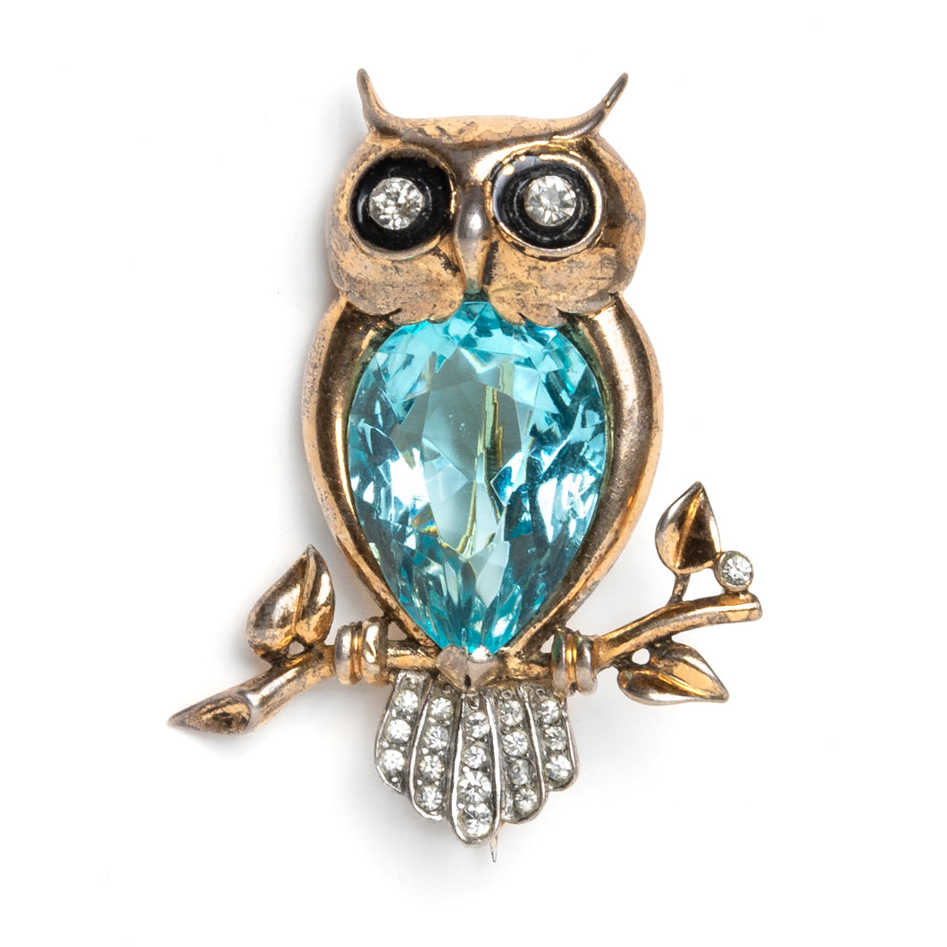 1950s Sterling Blue Stone Owl Brooch