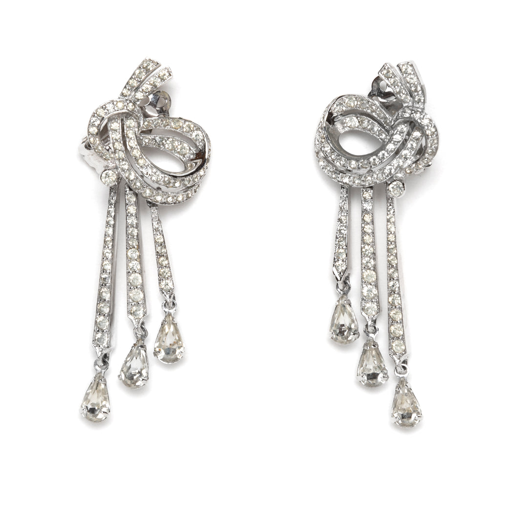 1950s Panetta Diamanté Knot and Drop Earrings