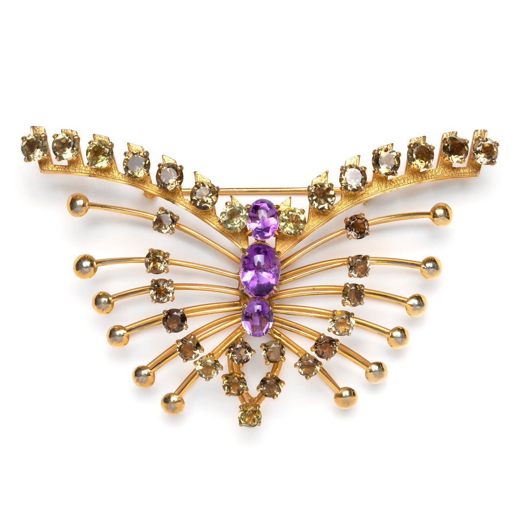 Ciner Gold Wire Butterfly Brooch