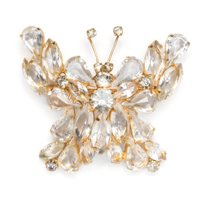 1960s Clear Navettes Butterfly Brooch