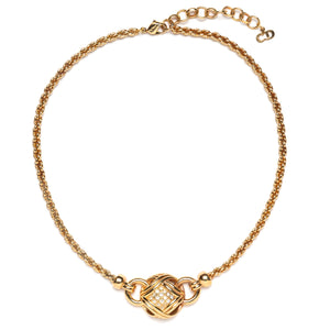 1980s Dior Gold Diamanté Ball Choker